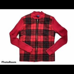 J McLaughlin Zippered Plaid quilted jacket